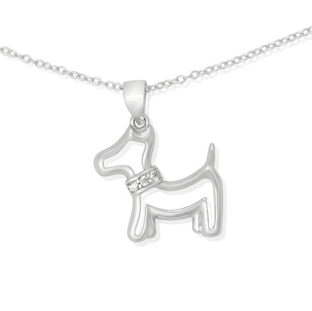NZ-7005 Terrier Dog CZ Pendant Necklace | Teeda
