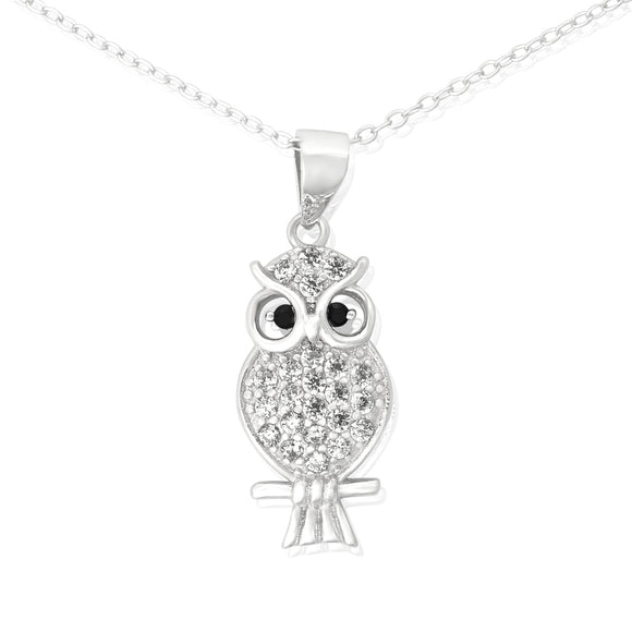 NZ-7006 Owl Cubic Zirconia Pendant Necklace | Teeda