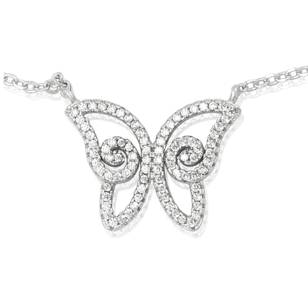 NZ-7007 Pavé Butterfly CZ Pendant Necklace | Teeda