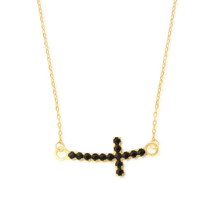 NZ-7008 Sideways Curved Cross Charm and Necklace Set - Gold Plated - Black CZ | Teeda