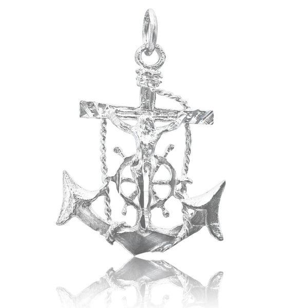 P-2280 Jesus Crucifix Anchor Med Charm