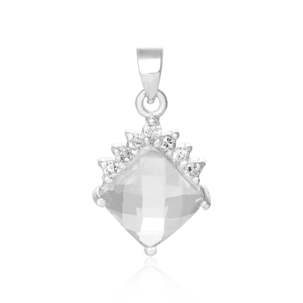PZ-7006-C Faceted Diamond Shape CZ Pendant - Clear | Teeda