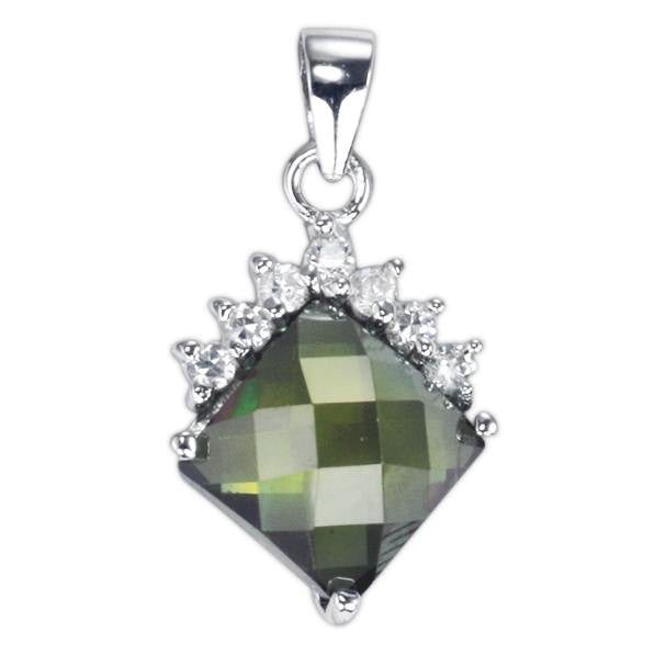 PZ-7006-O Faceted Diamond Shape CZ Pendant - Olive | Teeda