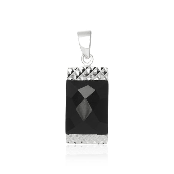 PZ-7017 Briolette Faceted Rectangle CZ Pendant