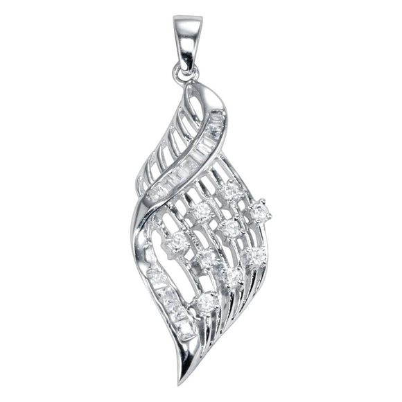 PZ-7033 Twist Wave Diamond Shape CZ Pendant | Teeda