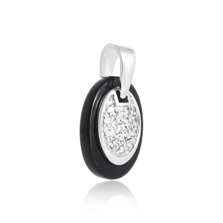 PZP-7009 Oval CZ on Oval Pendant | Teeda