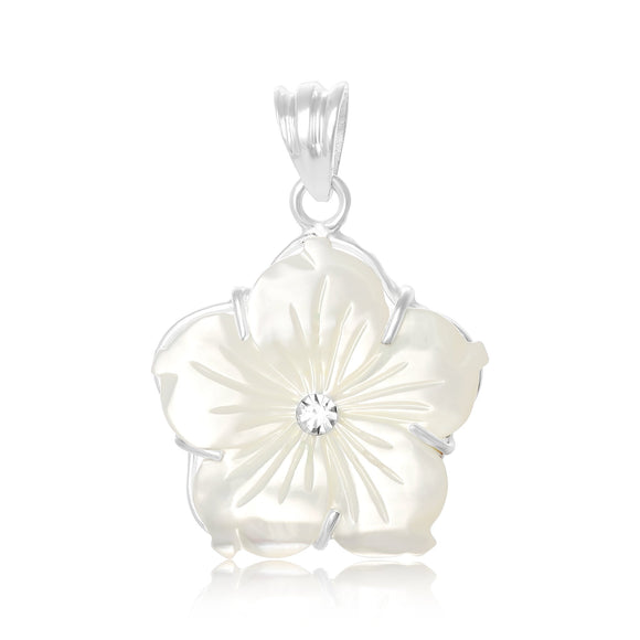 PZP-7012-P Pointed Primrose Flower Pendant - Mother of Pearl | Teeda