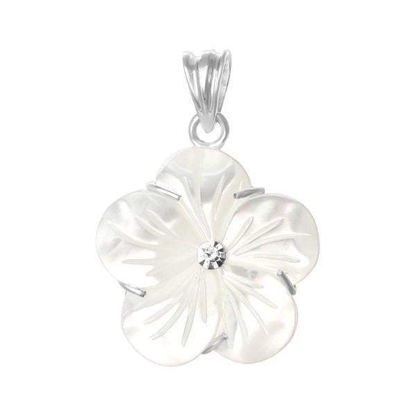 PZP-7013-P Primrose Flower Pendant - Mother of Pearl | Teeda