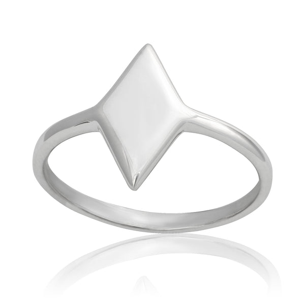 R-2031 Diamond Shape Dainty Signet Ring | Teeda