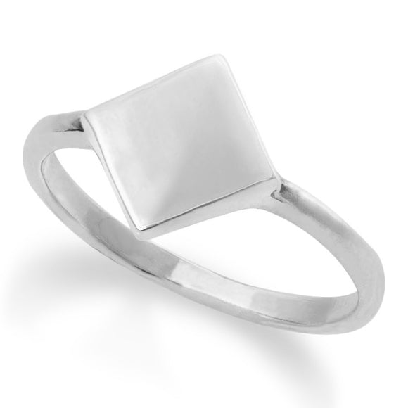 R-2032 Diamond Shape Dainty Signet Ring