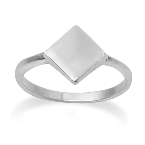 R-2032 Diamond Shape Dainty Signet Ring | Teeda