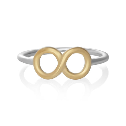 R-5003 Silver and Gold Infinity Symbol Ring | Teeda