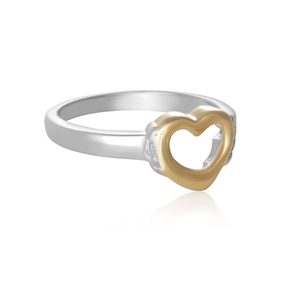 R-5004 Silver and Gold Open Heart Ring