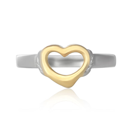 R-5004 Silver and Gold Open Heart Ring | Teeda