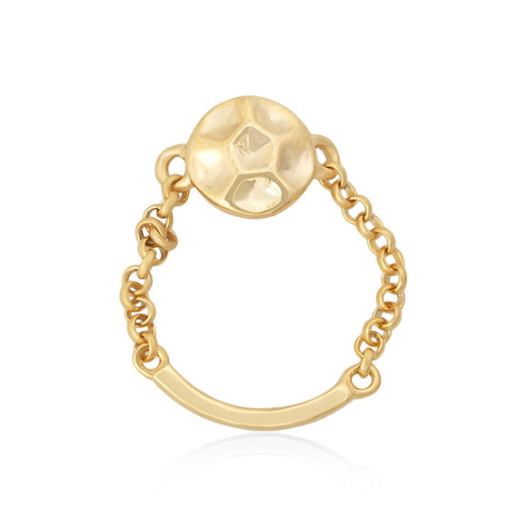 R-5005 Hammered Disc and Chain Ring - Gold Plated | Teeda