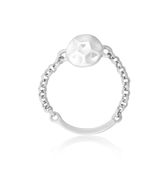 R-5005 Hammered Disc and Chain Ring - Rhodium Plated | Teeda