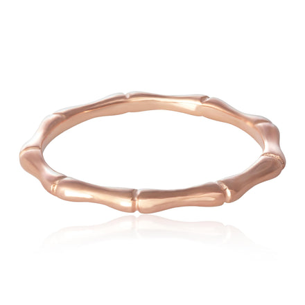 R-5006 Bamboo Band Ring - Rose Gold Plated | Teeda