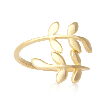 R-5008 Wraparound Branch Leaf Ring - Gold Plated | Teeda
