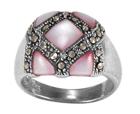 RMP-5170-K Inlay Marcasite Ring - Pink Shell | Teeda