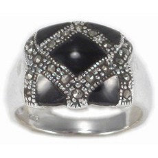 RMP-5170-O Inlay Marcasite Ring - Black Onyx | Teeda