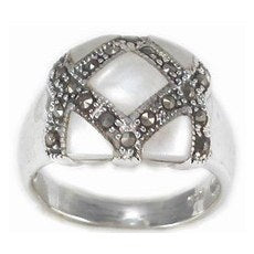 RMP-5170-P Inlay Marcasite Ring - Mother of Pearl | Teeda