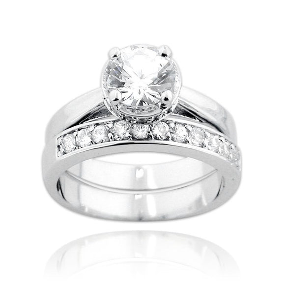 RSZ 1010 Cubic Zirconia Engagement Wedding Ring Set | Teeda