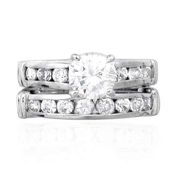 RSZ-1090 Cubic Zirconia Engagement Wedding Ring Set | Teeda