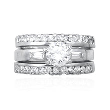 RSZ-1100 Cubic Zirconia 3 Ring Engagement Set | Teeda