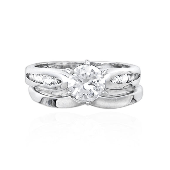 RSZ-1110 Cubic Zirconia Engagement Wedding Ring Set | Teeda