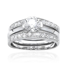 RSZ-2010 Cubic Zirconia Engagement Wedding Ring Set | Teeda