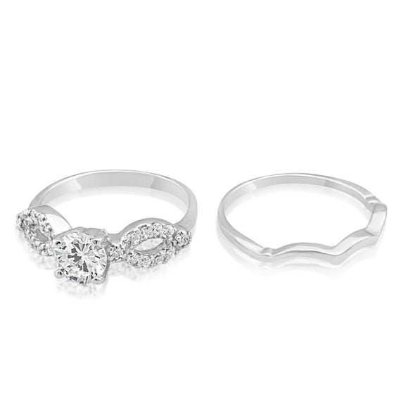 RSZ-2141 Cubic Zirconia Engagement Wedding Ring Set