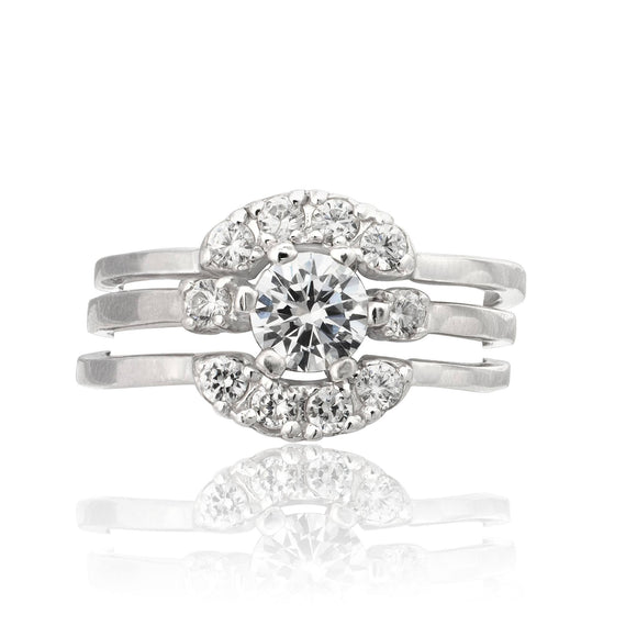 RSZ-2143 Cubic Zirconia Engagement Wedding Ring Set | Teeda
