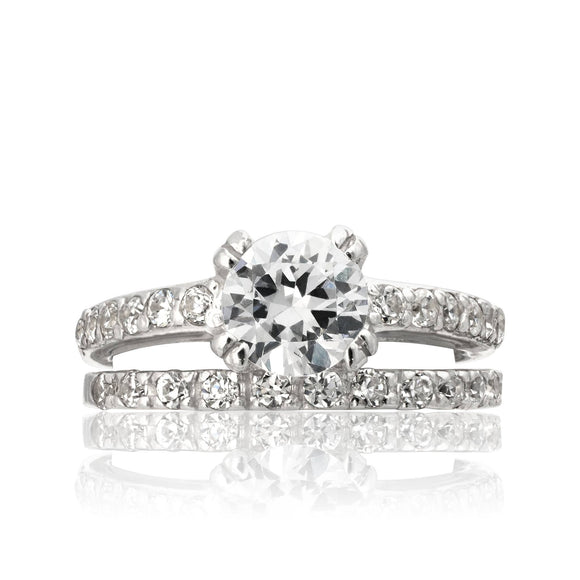 RSZ-2144 Cubic Zirconia Engagement Wedding Ring Set | Teeda