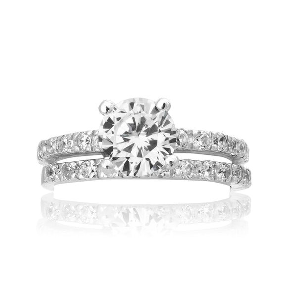RSZ 2145 Cubic Zirconia Engagement Wedding Ring Set | Teeda