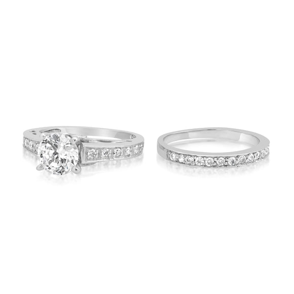 RSZ-2149 Channel Set CZ Engagement Wedding Ring Set
