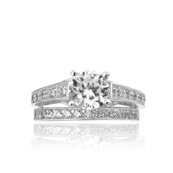 RSZ-2149 Channel Set CZ Engagement Wedding Ring Set | Teeda