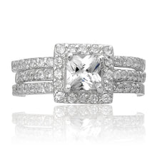 RSZ-2151 Princess Cut Halo CZ Engagement Wedding Ring Set | Teeda