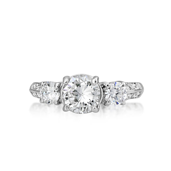 RSZ-2152 Knife Edge Trio CZ Engagement Wedding Ring Set