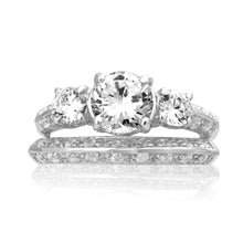 RSZ-2152 Knife Edge Trio CZ Engagement Wedding Ring Set | Teeda
