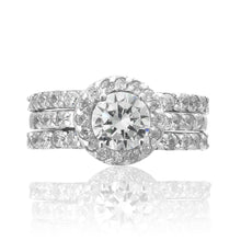 RSZ-2153 Halo CZ Engagement Wedding Ring Set | Teeda
