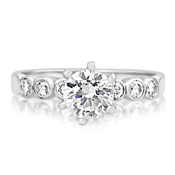 RSZ-2154 Bezel Set CZ Engagement Wedding Ring Set