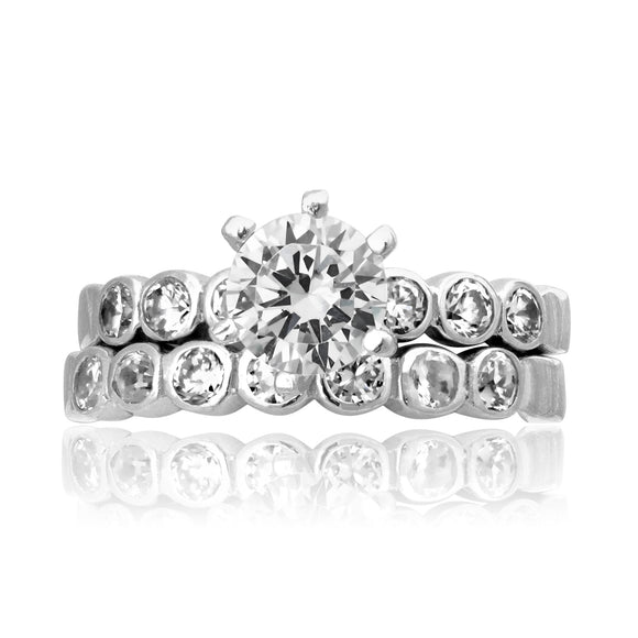 RSZ-2154 Bezel Set CZ Engagement Wedding Ring Set | Teeda
