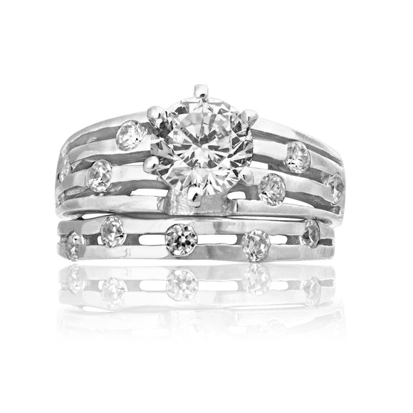 RSZ-2155 Constellation CZ Engagement Wedding Ring Set | Teeda