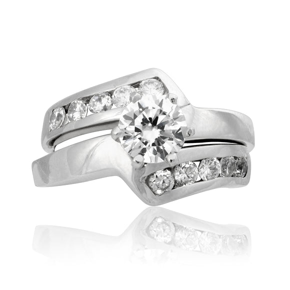 RSZ-2156 Z Wave Channel Set CZ Engagement Wedding Ring Set | Teeda