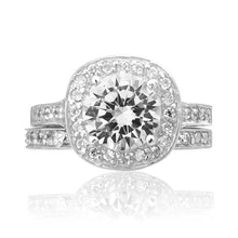 RSZ-2158 Halo CZ Engagement Wedding Ring Set | Teeda