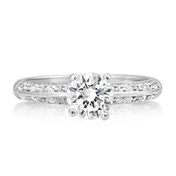 RSZ-2159 Knife Edge CZ Engagement Wedding Ring Set