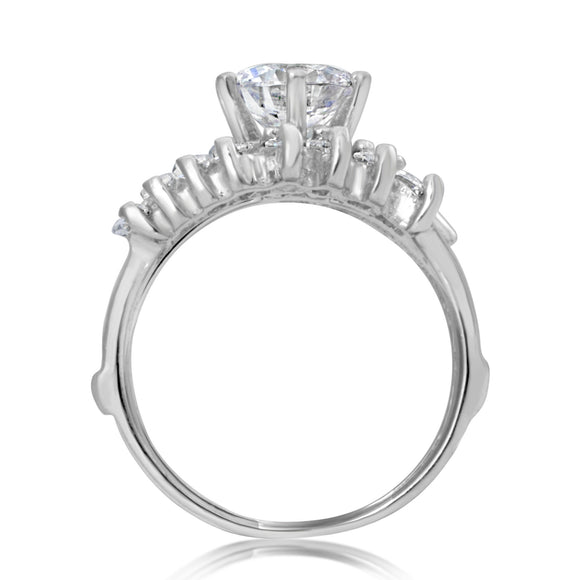 RSZ-2160 Round Marquise Emerald Cut CZ Engagement Wedding Ring Set