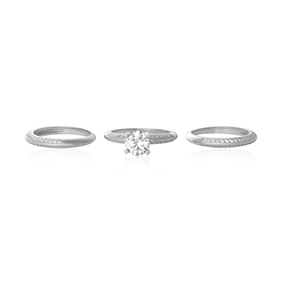 RSZ-3000 Knife Edge CZ Wedding Ring Set