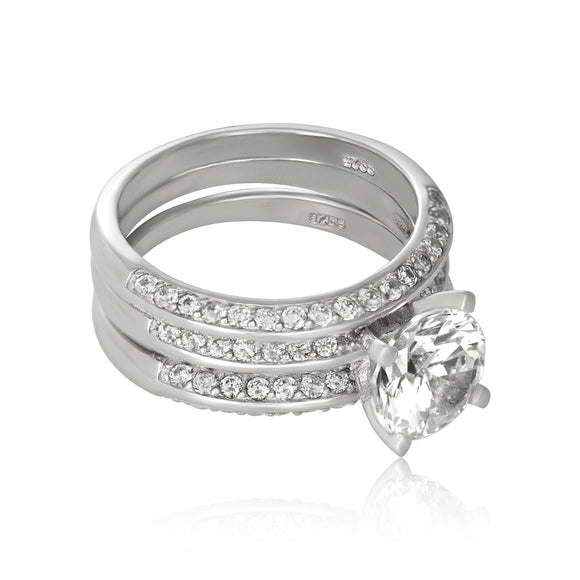 RSZ-3000 Knife Edge CZ Wedding Ring Set | Teeda