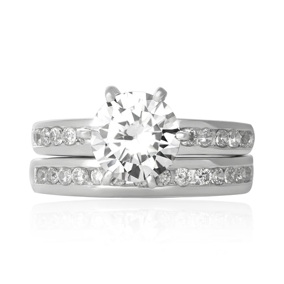 RSZ-3002 Channel Set CZ Wedding Ring Set
